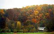 Covered Bridge Art Prints - Fall At Valley Forge Print by Skip Willits