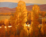 Rural Landscapes Pastels Prints - Fall Backlight Print by Doyle Shaw