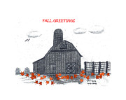 Barn Drawing Posters - Fall Barn Poster by Pamela  Lyons