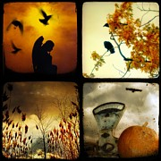 Fall Scenes Digital Art - Fall Blush by Gothicolors With Crows