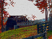 Fall River Scenes Mixed Media Prints - Fall Bridge Print by Dennis Buckman