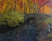 Gallary Posters - Fall Bridge Poster by Gwendolyn Hope-Battley