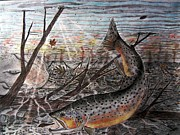Trout Mixed Media Framed Prints - Fall Brown  Framed Print by William Blackwell