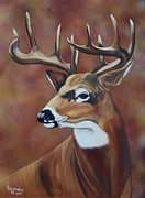 White Tail Paintings - Fall Buck by Debbie LaFrance