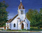 Acrylic Art Posters - Fall Church Poster by Lynne Reichhart
