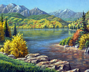 Colorado Mountain Stream Paintings - Fall Colors by Rick Hansen