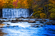 Natural Dam Prints - Fall Comes to Vickery Creek in Roswell Print by Mark E Tisdale