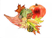 Baskets Drawings - Fall Cornucopia by Linda Ginn
