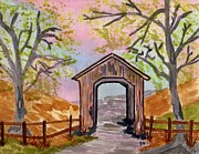 Covered Bridge Painting Metal Prints - Fall Creek Oregon Metal Print by Connie Valasco