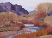 Dolores Paintings - Fall-Dolores River by Deb Bartos