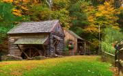 Log Cabin Framed Prints - Fall Down on the Farm Framed Print by William Jobes