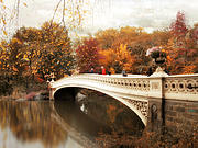 Autumn Landscape Digital Art Framed Prints - Fall Finale at Bow Bridge Framed Print by Jessica Jenney