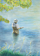 Fly Fisherman Paintings - Fall Fisher by Arthur Fix