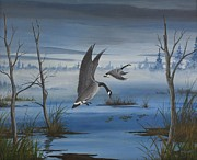 Geese Paintings - Fall Flight by Gary McDonnell