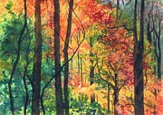 Autumn Woods Painting Posters - Fall Foliage Poster by Barbara Jewell