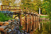 Concord Bridge Posters - Fall foliage over the North bridge Poster by Jeff Folger