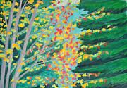 Park Scene Paintings - Fall Forest by Cora Morley Eklund
