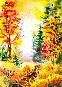 Guest Painting Prints - Fall Forest Print by Irina Sztukowski
