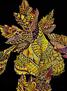Tangle Drawings - Fall Frenzy by Karen Risbeck