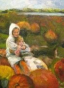 Pumpkins Paintings - Fall Friends by Dorothy Siclare