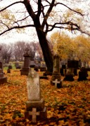 Fall Leaves Digital Art Prints - Fall Graveyard  Print by Gothicolors And Crows