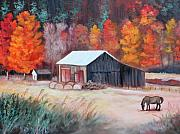 Horse Farm Framed Prints - Fall Grazer Framed Print by Eve  Wheeler