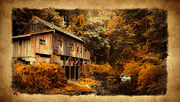 Old Cabins Prints - Fall Grist Print by Steve McKinzie