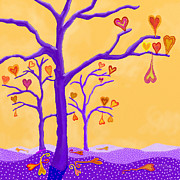 Colors Of Autumn Painting Posters - Fall Hearts Poster by Darlene Seale