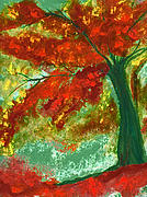 Orange Green Pastels Posters - Fall Impression by jrr Poster by First Star Art 