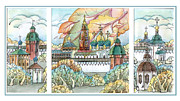 Orthodox Drawings Framed Prints - fall in ancient City Framed Print by Khromykh Natalia