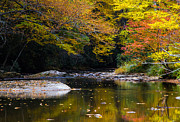 Mountains Photos - Fall in Linville River by John Haldane