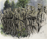 World War One Pastels - Fall in Norfolk Volunteers by Frank Gillett