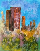 City Scape Paintings - Fall in the City by Gayle McGinty
