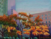 New York Pastels Posters - Fall in the City Poster by Marion Derrett