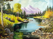 Park Scene Painting Originals - Fall In The Rockies by Lee Piper