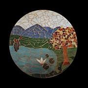 Landscapes Glass Art Originals - Fall in the Shenandoah by Kathy Mote