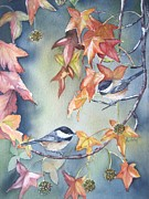 Bird On Tree Painting Prints - Fall leaves and chickadees Print by Patricia Pushaw