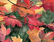 Janet King Painting Metal Prints - Fall Leaves Metal Print by Janet King