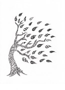 Tree Roots Drawings Prints - Fall Leaves Print by Paula Dickerhoff