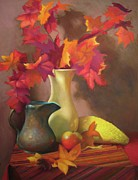 Fall Leaves Pastels Framed Prints - Fall Leaves Framed Print by Susan Goldstein Monahan