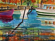 Boats In Harbor Posters - Fall Mooring Poster by John  Williams