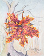 Color Pencil Paintings - Fall Oak Tree by Shelly Ziska