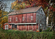 Barn Digital Art Posters - Fall on the Farm Poster by Lori Deiter