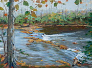 Little Harpeth River Paintings - Fall on the Little Harpeth by Sandra Harris
