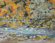 Riverscape - Early Autumn Prints - Fall on the River Print by Karen Ilari