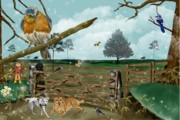 Scarecrow Posters - Fall Pastures Poster by Karen Sheltrown