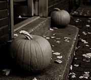 Stoops Prints - Fall Pumpkin Pair Print by John Ayo