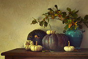 Sandra Cunningham - Fall pumpkins and gourds on table