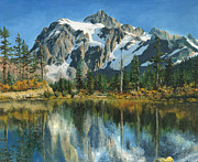 Rural Snow Scenes Originals - Fall Reflections - Cascade Mountains by Mary Ellen Anderson
