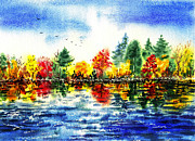 Guest Painting Prints - Fall Reflections Print by Irina Sztukowski
